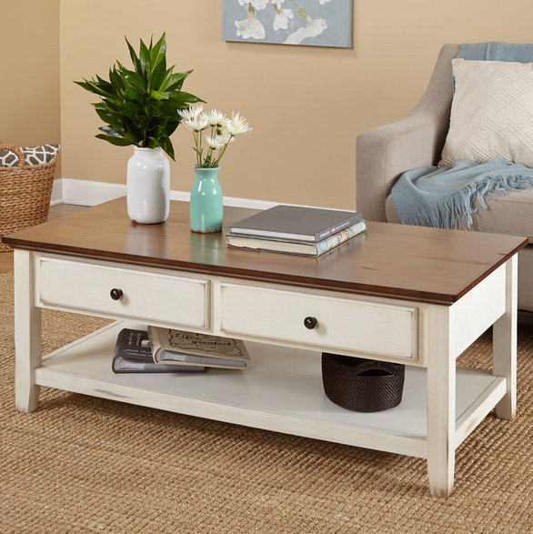 Large Distressed Wood Coffee Table: Off White Distressed Coffee Table