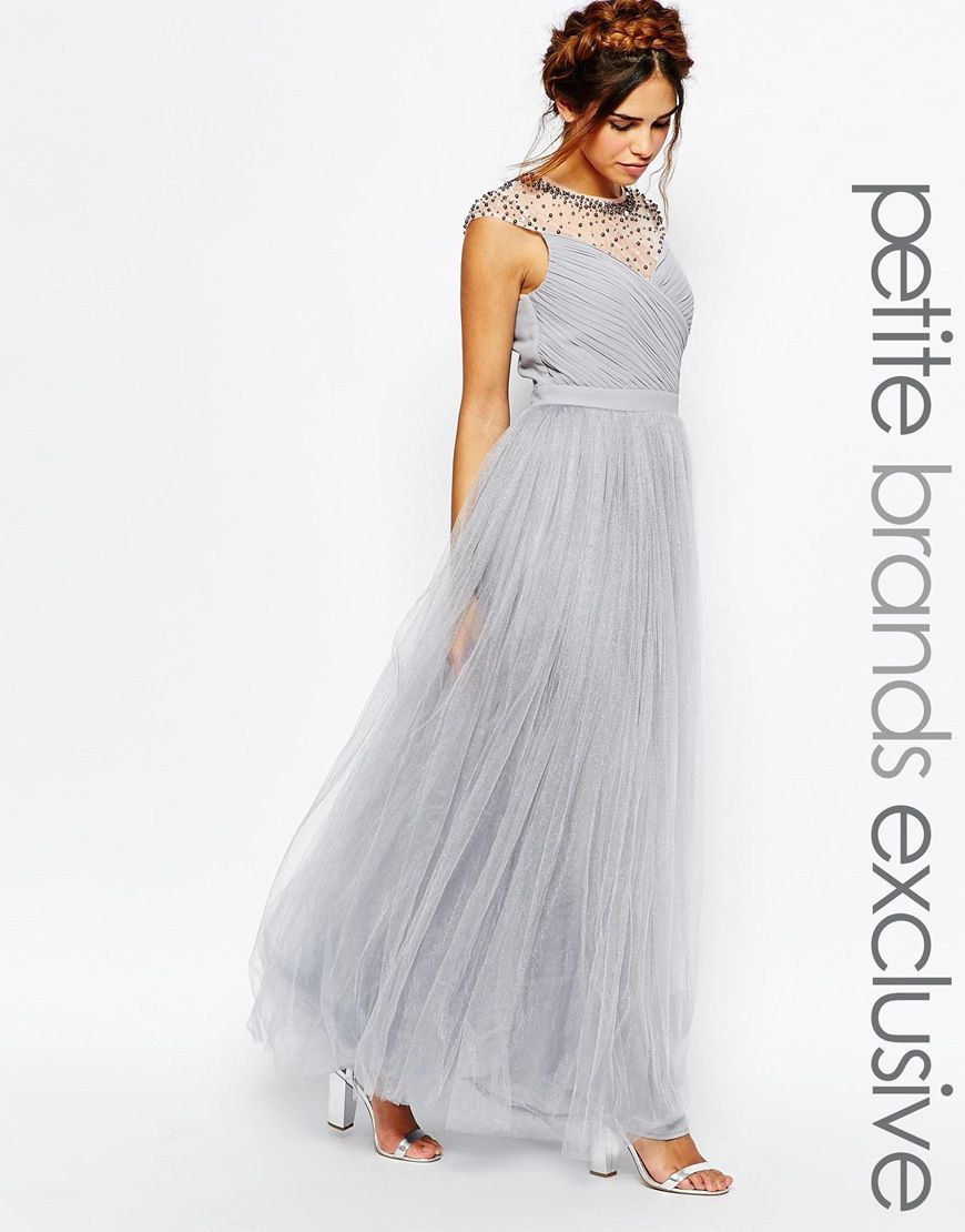Image 1 of Little Mistress Petite Tulle Maxi Prom Dress With ...