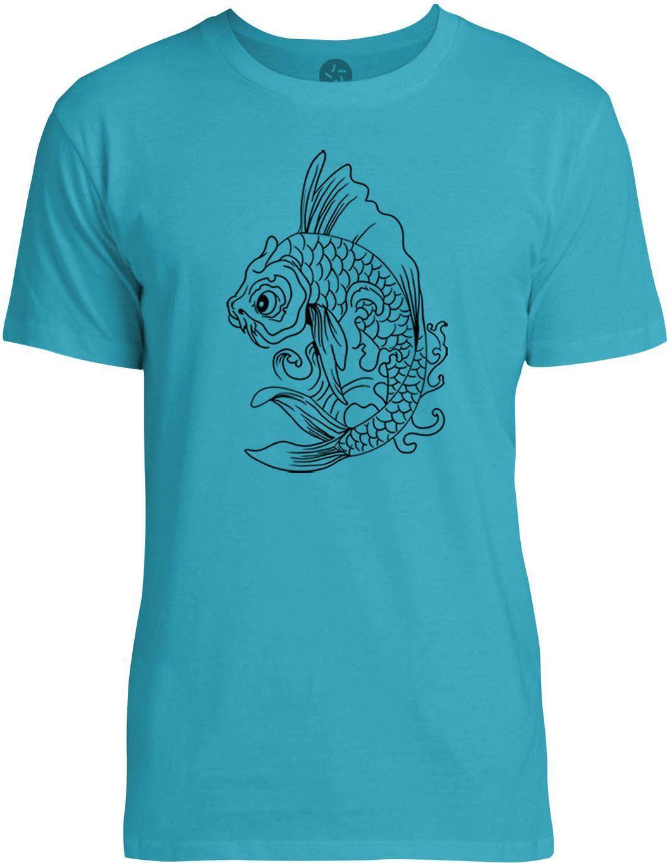 Vintage Koi Fish Tattoo (Black) Mens Fine Jersey T-Shirt