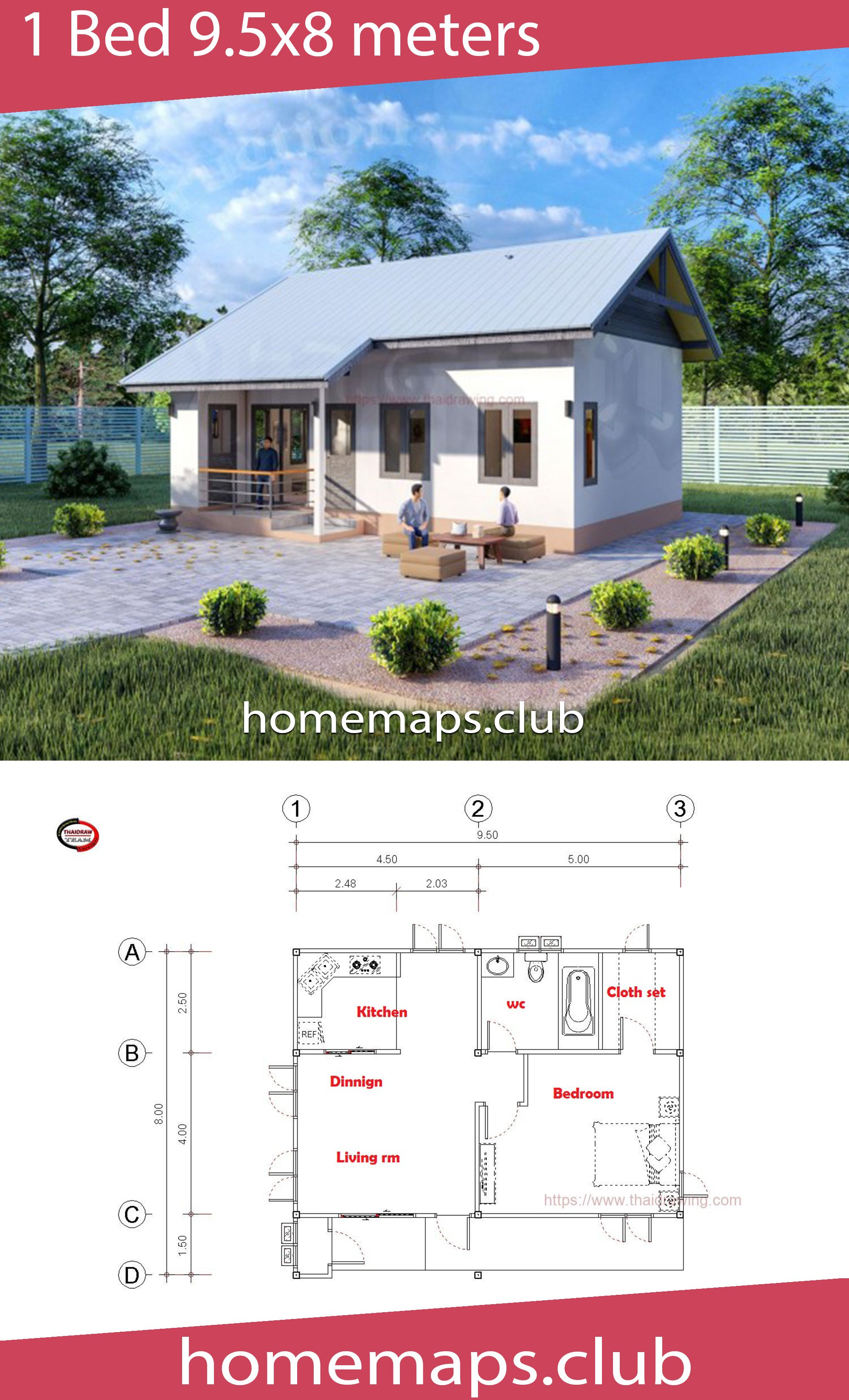 House Design 9 5x8 With 1 Bedrooms Home Maps House Design Small House Plans House Map