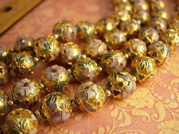 Huge vintage chinese necklace champleve heavy enamel beads over 35...