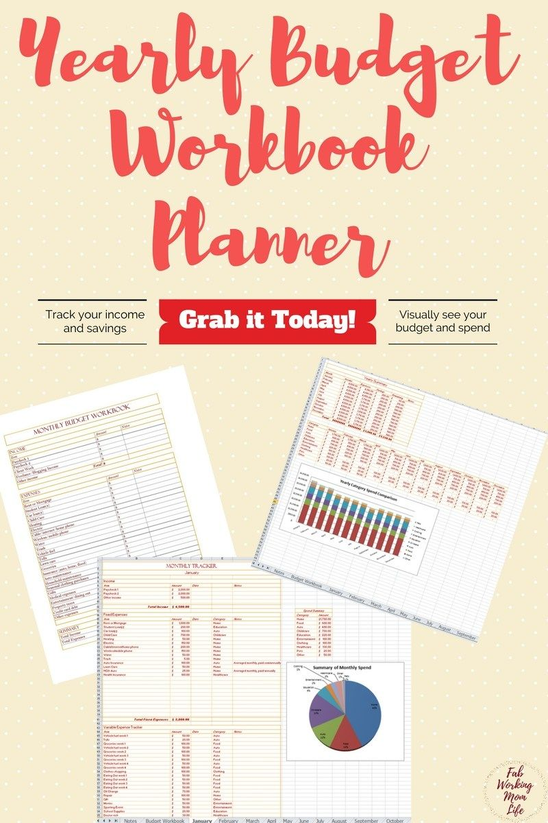 yearly budget workbook planner pinterest yearly planners and