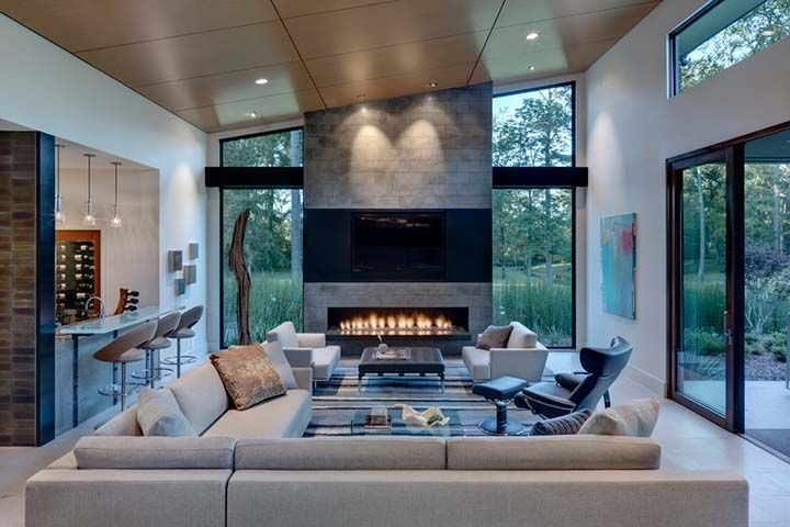 Luxurious And Contemporary Designed Livingroom With A Big Tv And Fireplace Contemporary Living Room Design Fireplace Design Contemporary Fireplace
