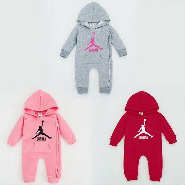 27fc5c4ed3f5 Baby Jordan Long Sleeve Hooded Winter Romper Babygrows Boys Girls Top Outfit