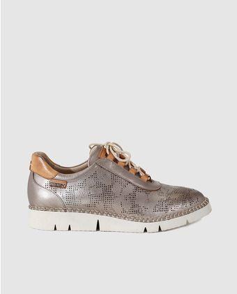 Zapatos de cordones de mujer Pikolinos de piel troquelada