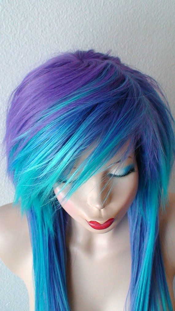 emo wig. scene purple teal