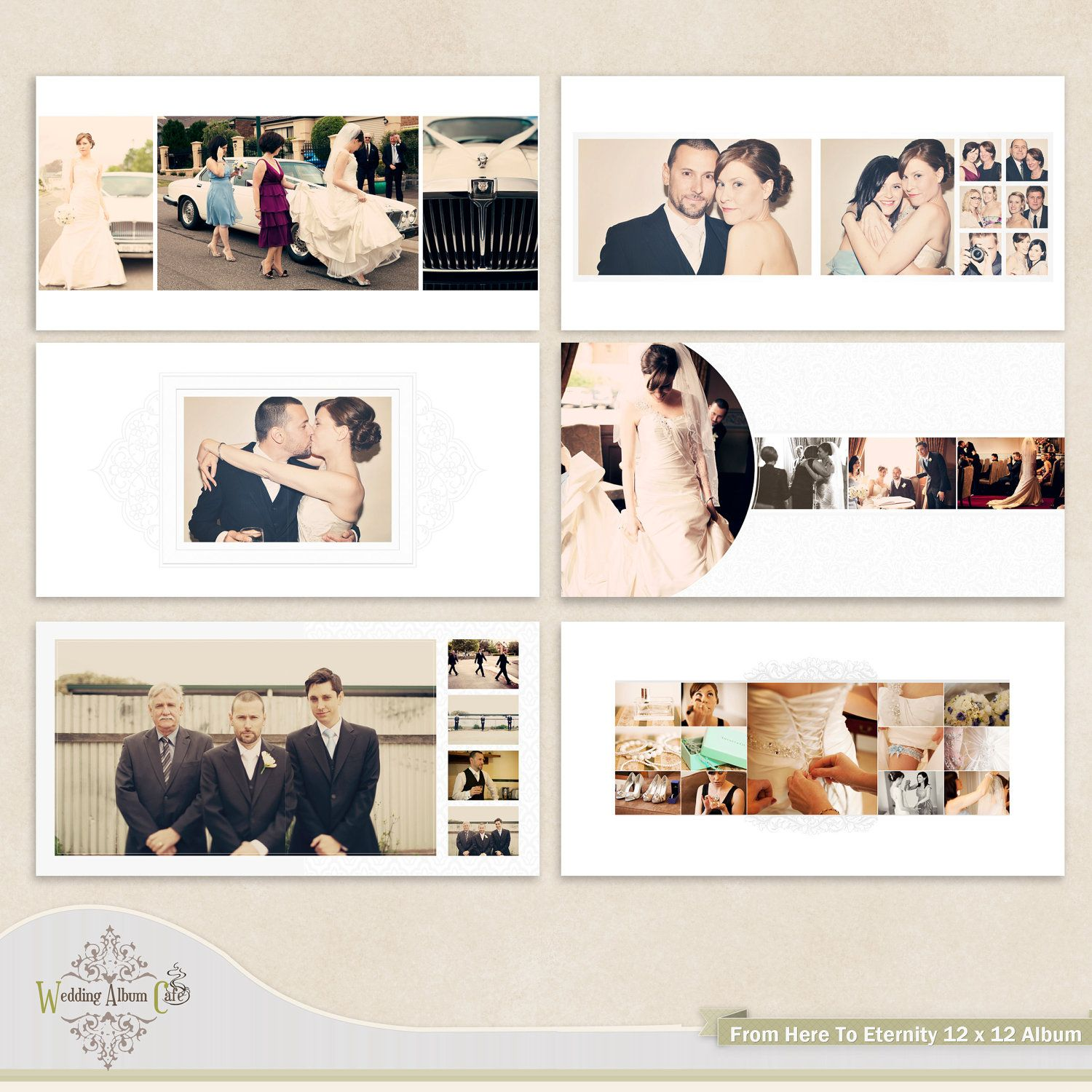 Wedding Photobook Cover Design ~ Wedding album template for photographers via etsy