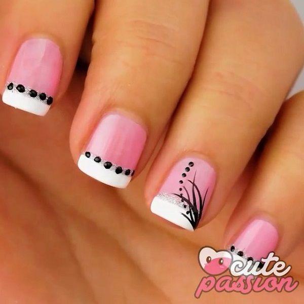 50 Pink Nail Art Designs | Art and Design - 50 Pink Nail Art Designs Pink Polish, White Polish And Black Polish