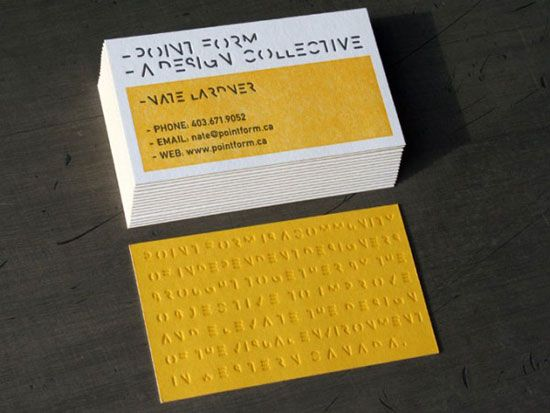 Point form letterpress business card idea design branding the paper used on the point form business card is a french poptone sweet tooth custom pasted duplexed after printing to french poptone lemon drop for a colourmoves