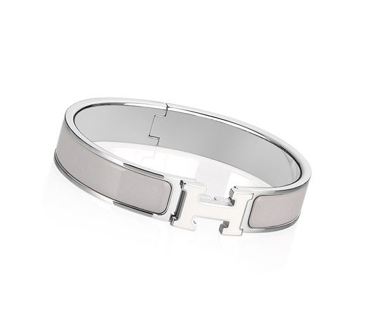 177a2d771b9 Clic H Hermes narrow bracelet White/light grey enamel Silver and palladium  plated hardware, 2.25