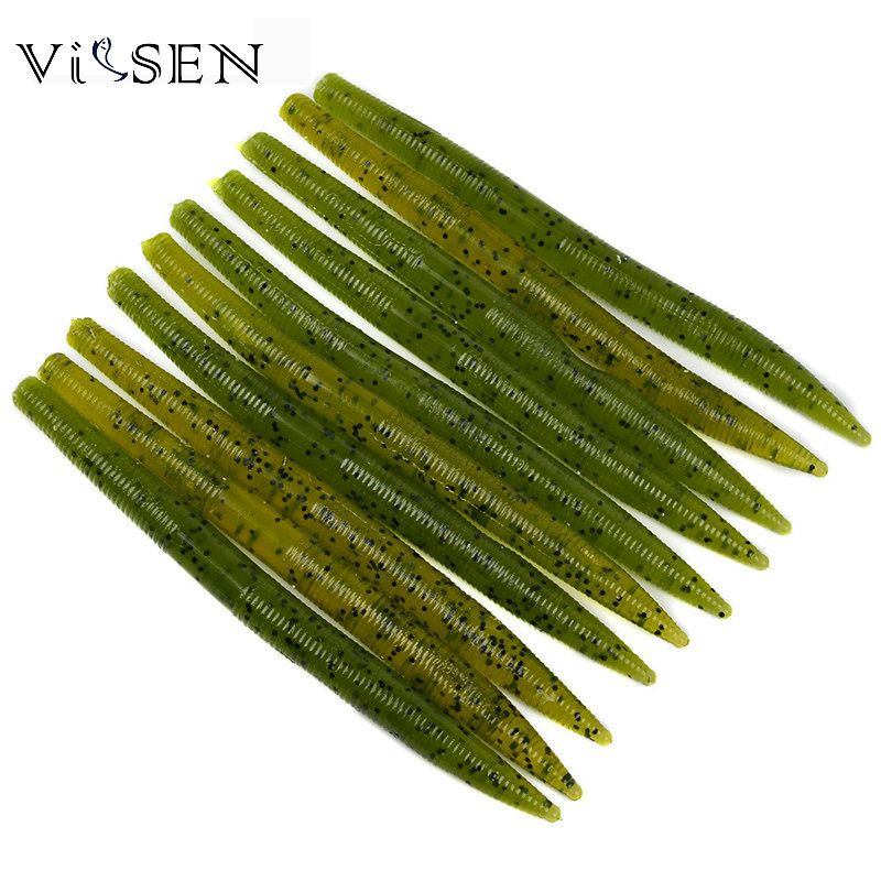 "Vissen Senko Soft Baits 50pcs/5 Bag 5.5""Stick Bait Senko Bait Bass Plastic Worm Lures Baits for Wacky Rigging Or Texas Fishing"