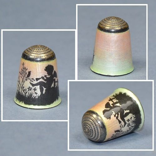 ANTIQUE ENAMEL THIMBLE PLAYING CHERUB / US $156.44