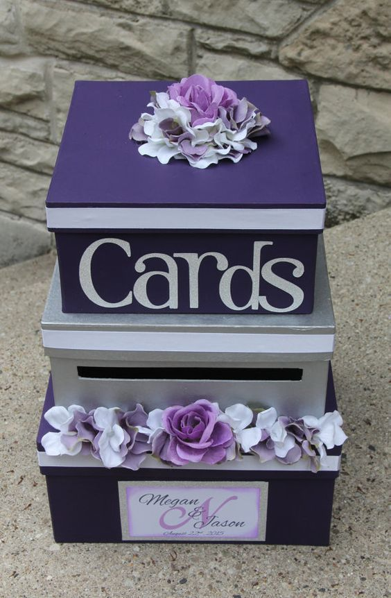 Wedding Card Box 3 Tier Card Holder Square Purple And Silver