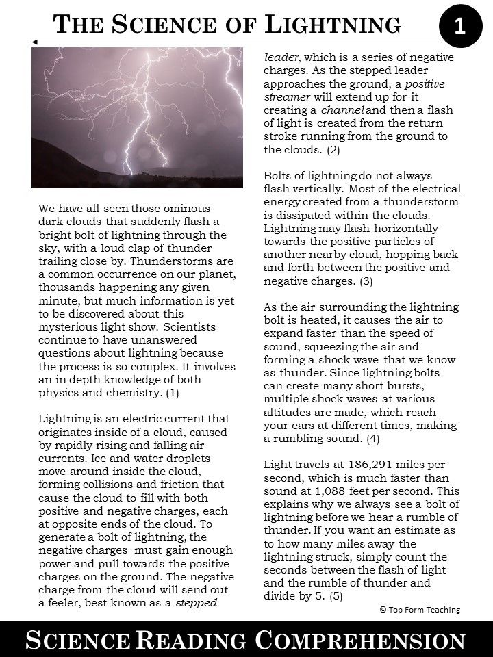 Free Science Article The Science of Lightning | School Ideas for ...