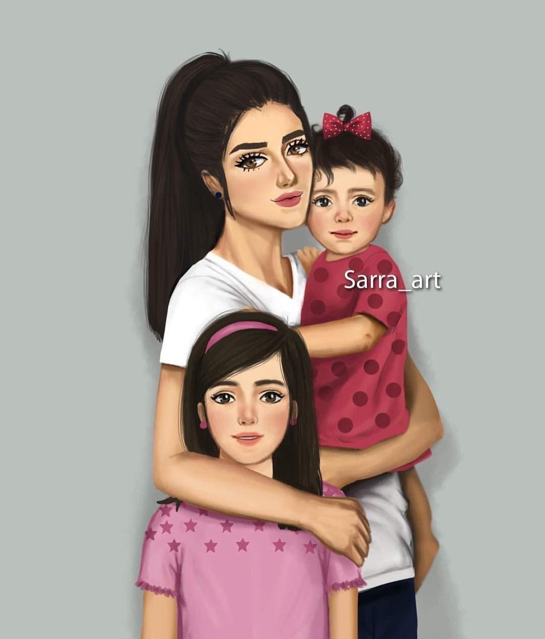 5 213 Likes 378 Comments Sara Ahmed Sarra Art On Instagram بناتي حلو أيامي وسعادتي اجتمعت بكم مييييين هن Sarra Art Mother Daughter Art Mother Art