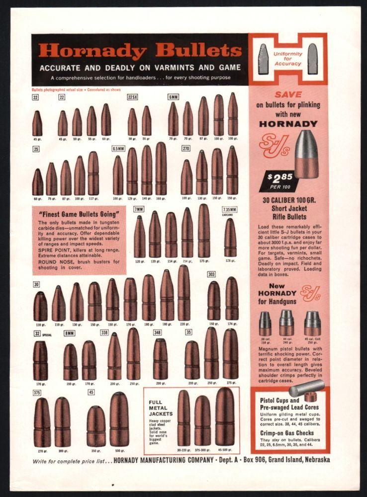 1961 HORNADY BULLETS Full Line Ammunition Vintage PRINT AD Vintage