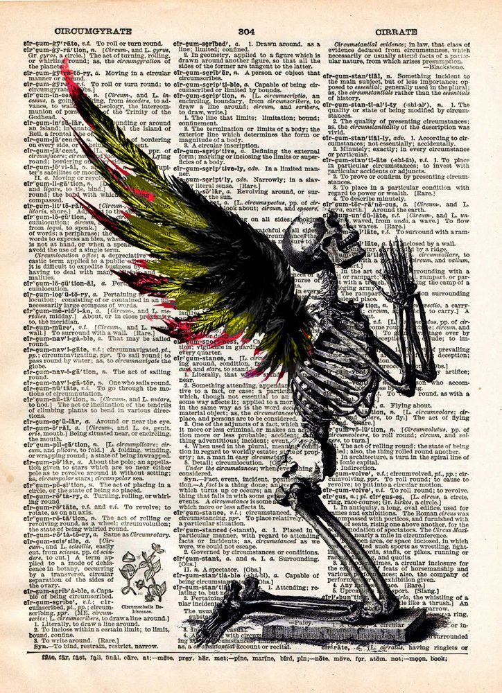 Creepy skeleton, Fallen Angel art, winged skeleton fairy, death angel, creepy art, vintage dictionary page book art print