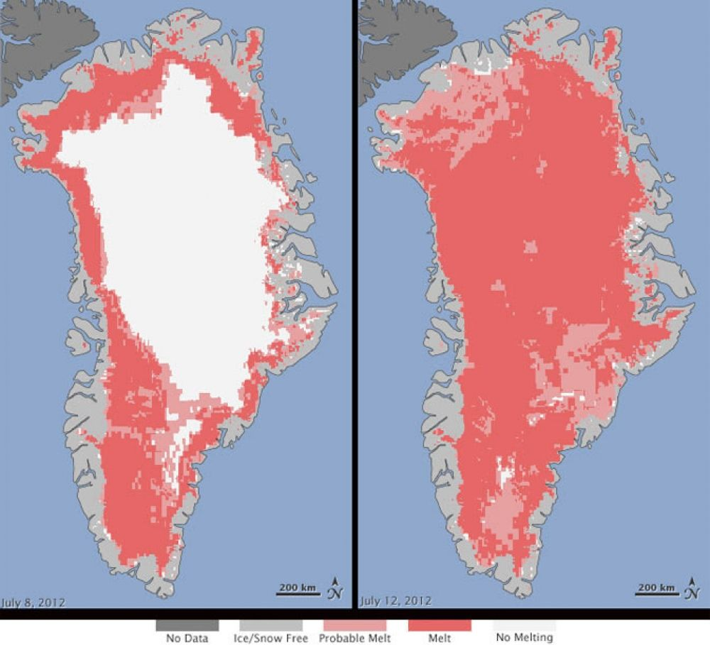 Map of Greenland's melting Ice Sheet