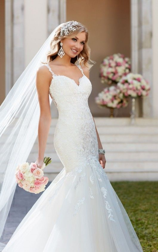Fit and flare wedding dress with illusion back - Stella York ...