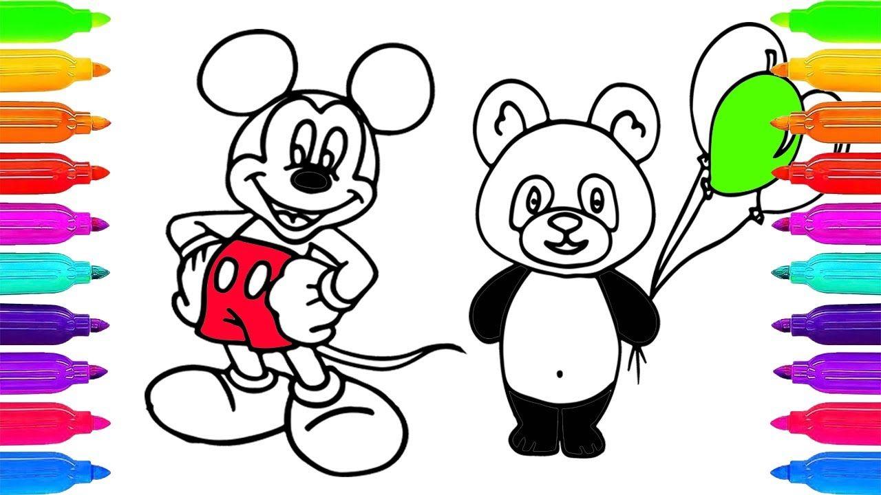 Dibujar y Colorea Una Mickey Mouse y Oso De Arco Iris ✏ Learn ...