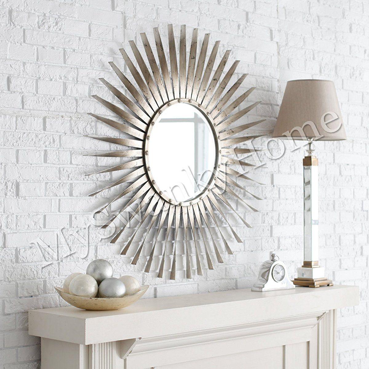 Extra Large Silver Leaf Sunburst Starburst Wall Mirror Mirror