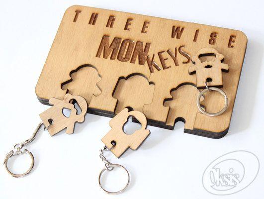 Wall Key Holder, monkeys, keychains, home decor, Wood Key Rack ...