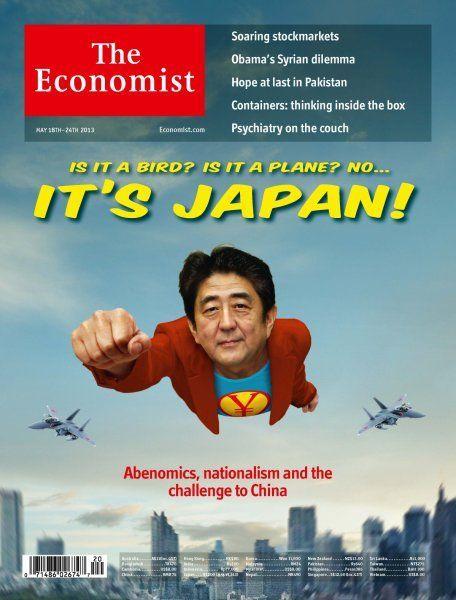Abe Shinzo, portada en  The Economist (2013). The Economist se hace eco del retorno de Japón. Vestido de Superman, el primer ministro Shinzo Abe demuestra que con su política de Abenomics puede volver a situar a Japón en la posición que le corresponde como potencia del sistema internacional.