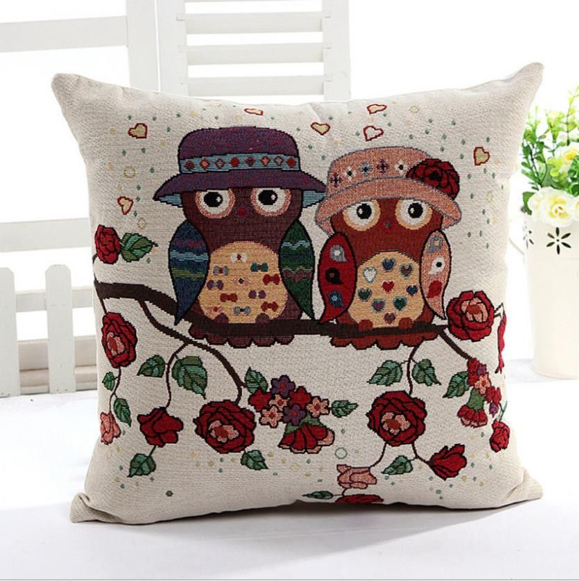 Owl Linen Cotton Throw Pillow Case Home Sofa Bed Car Decor