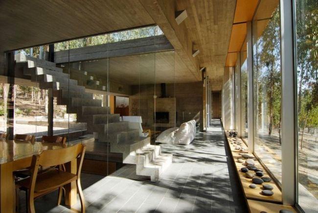 flachdachhaus chile interieur wald verschmelzen glas holz beton ...
