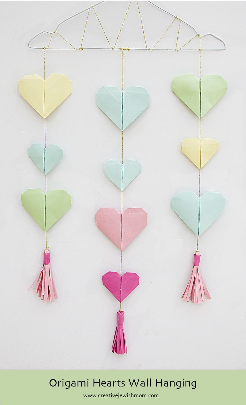 Decorative Wall Hanging Hearts : Origami hearts wall hanging tutorial with paper tassels is