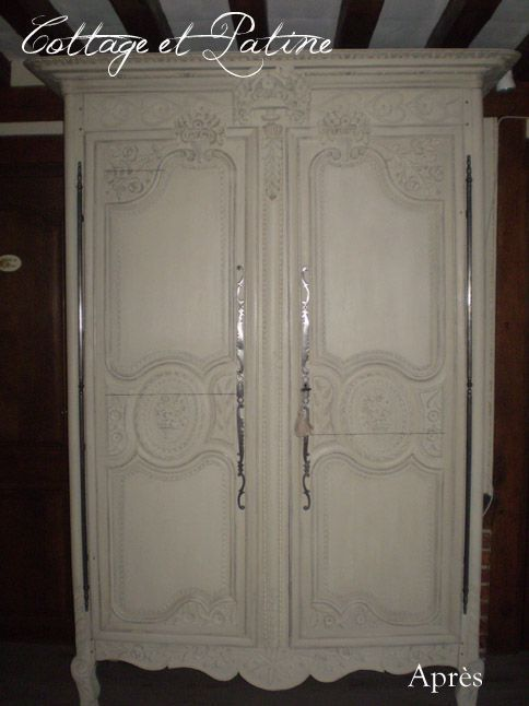 armoire normande de fiançailles avant - après - cottage et patine