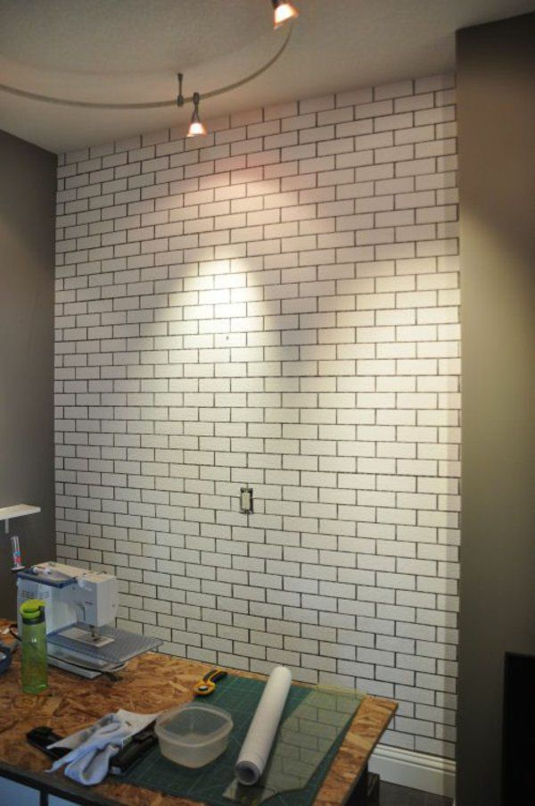 Wanddeko selber machen gefälschte Backsteinwand als rustikale