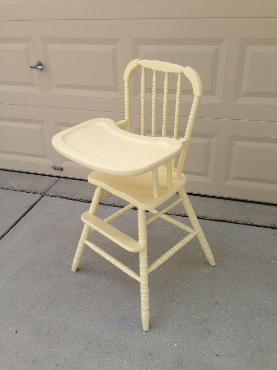 Vintage Wooden High Chair - Vintage Wooden High Chair Wooden High Chairs, High Chairs And Babies