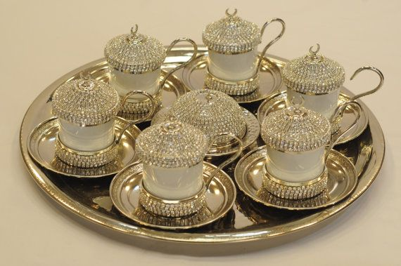 Palace Style Handmade Copper Turkish Coffee Espresso Serving Set Swarovski Style Crystal Coated - Silver Color