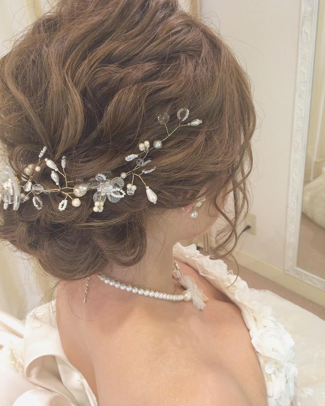ワイヤーパール ブライダルヘア 花嫁 花嫁 ヘア