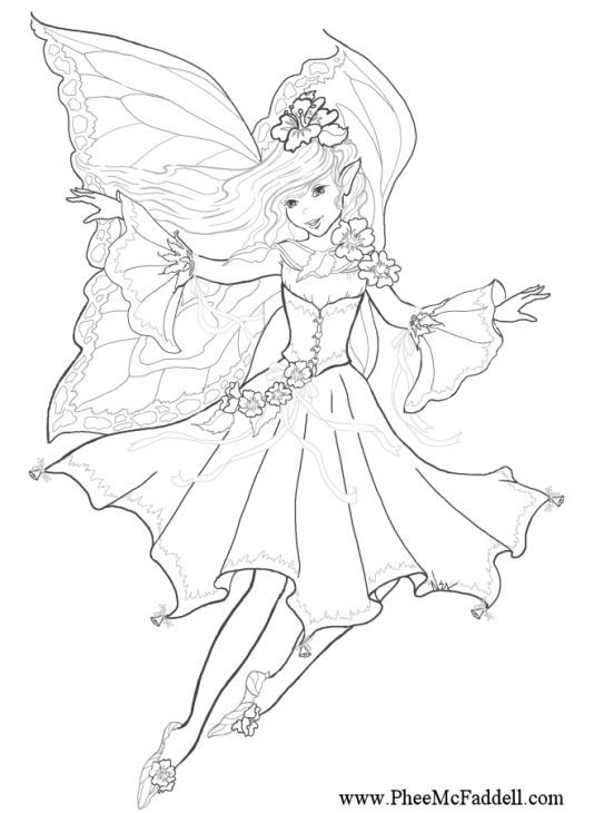 Advanced Coloring Pages Of Fairies : Beautiful fairy advanced challenging adult coloring pages