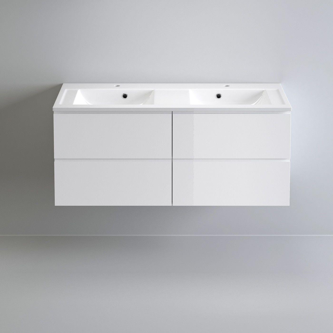 White Double Basin Bathroom Vanity Unit Sink Storage Modern ...