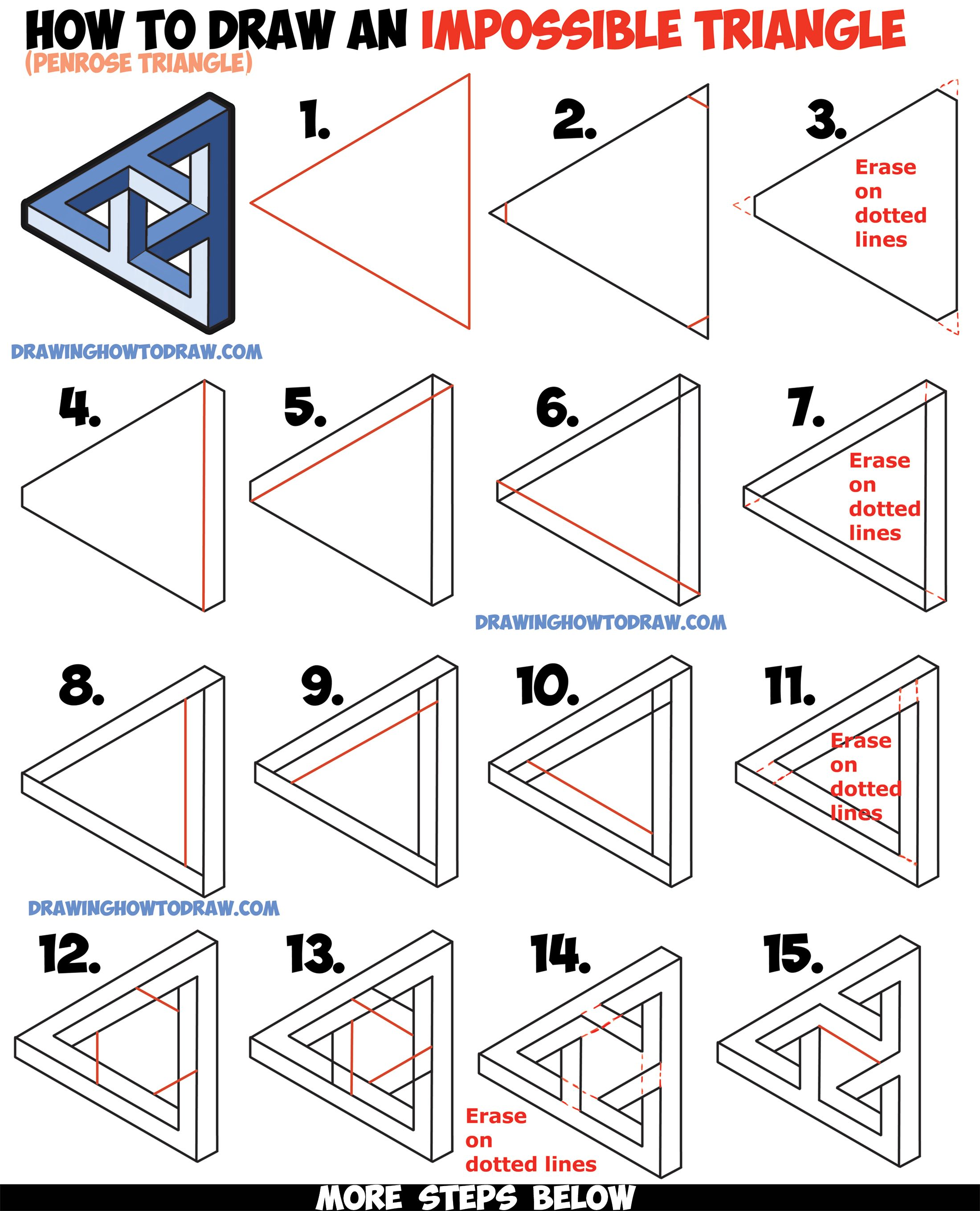 How to draw an impossible triangle penrose triangle that for Drawing ideas for beginners step by step