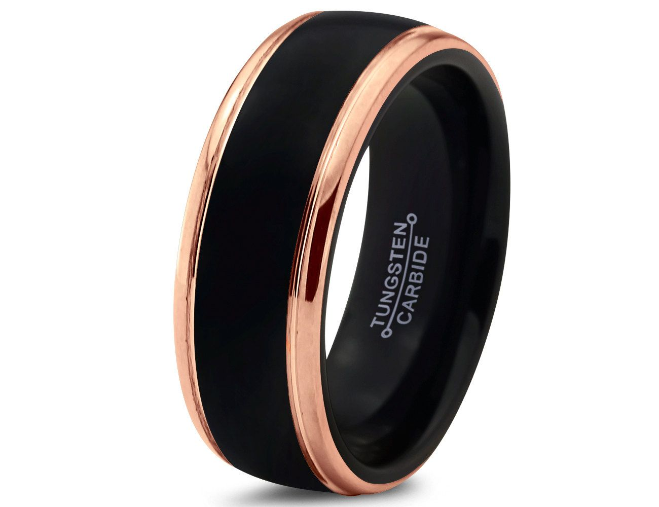 Black tungsten ring rose gold wedding band ring tungsten for Black wedding ring men