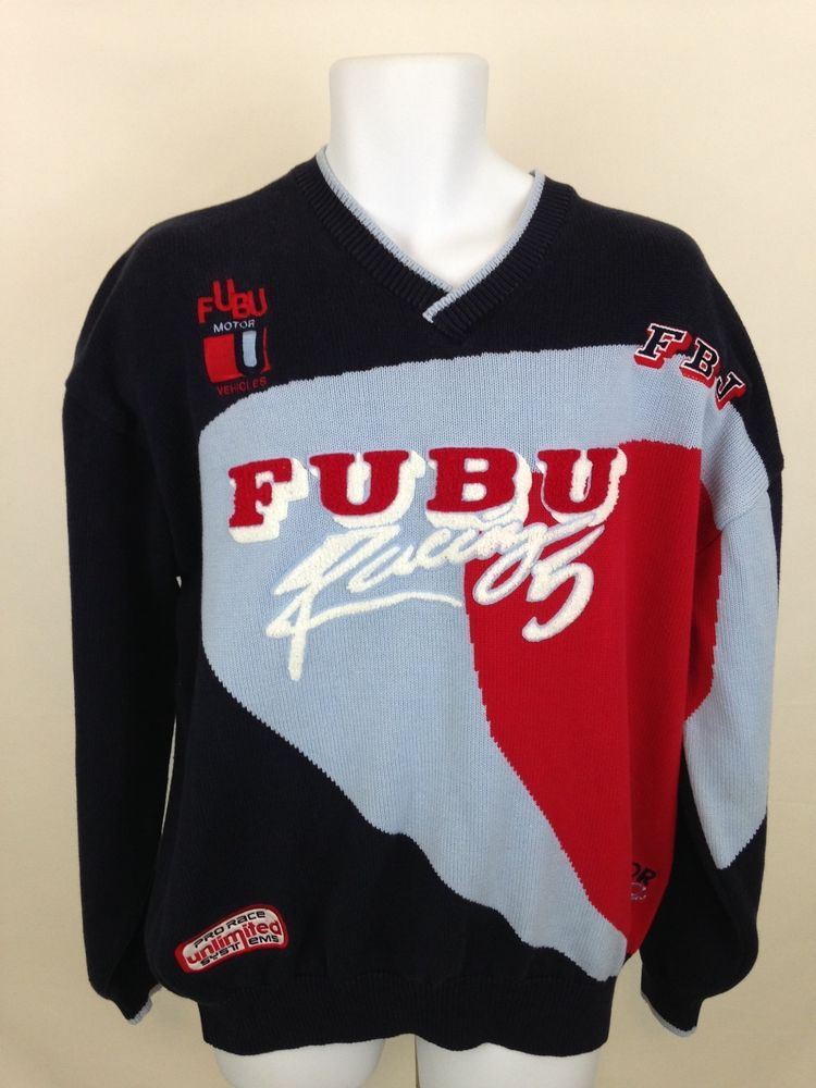 b74c7e9e691 Fubu Racing Sweater 90s Crewneck Pullover Hip Hop Urban Pro Race Patch Mens  XL  Fubu  Sweater