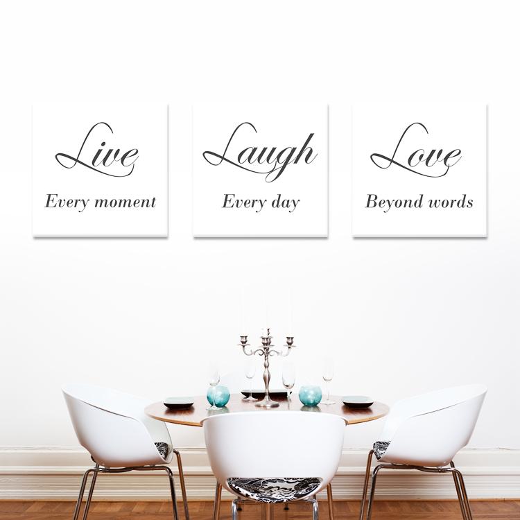 tekst op canvas - live laugh love   woonkamer teksten   pinterest, Deco ideeën