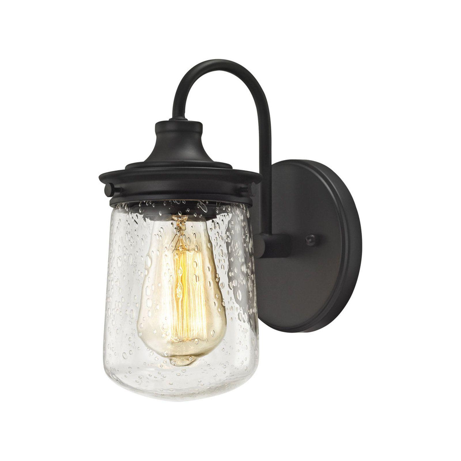 Jar Glass Seeded Sconce Elk lighting, Oil rubbed bronze