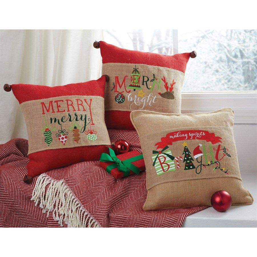 Embroidered Burlap Christmas Pillow Wrap 11 Options Burlap Christmas Christmas Cushions Holiday Pillows