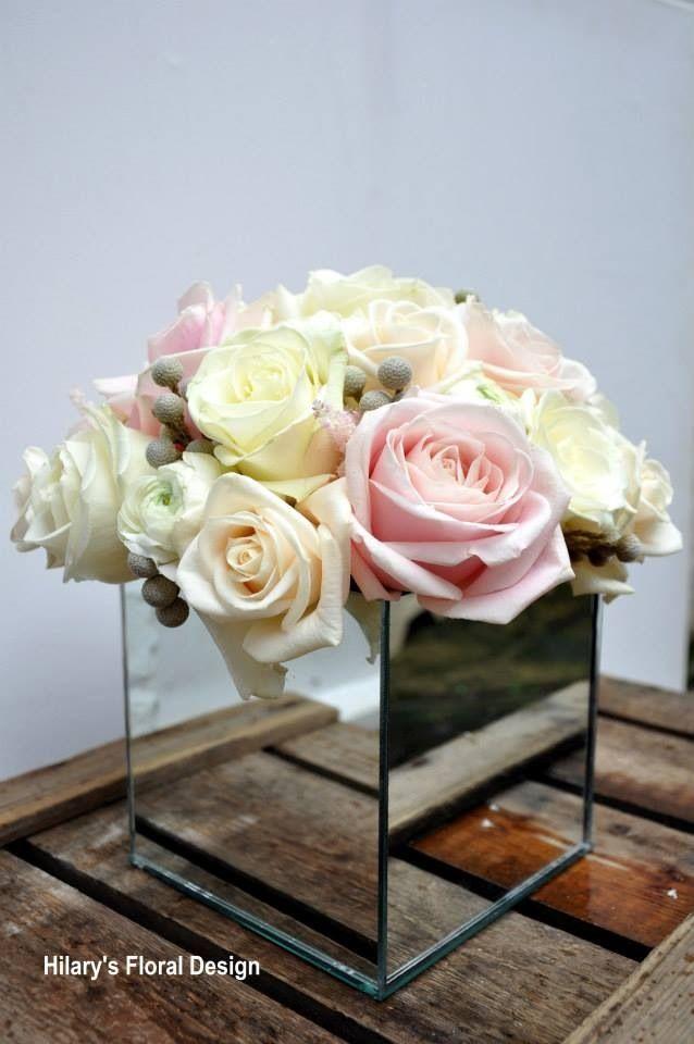 Mirror cube vase arrangement in pinks and