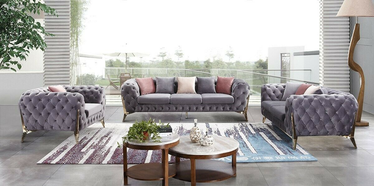 Ultra Modern Retro Design Transitional Grey Velvet Sofa Chair 3pc Set V175610 Sofa Set Ideas Of Sofa Set Sofa In 2020 Velvet Sofa Set Sofa Set Grey Velvet Sofa