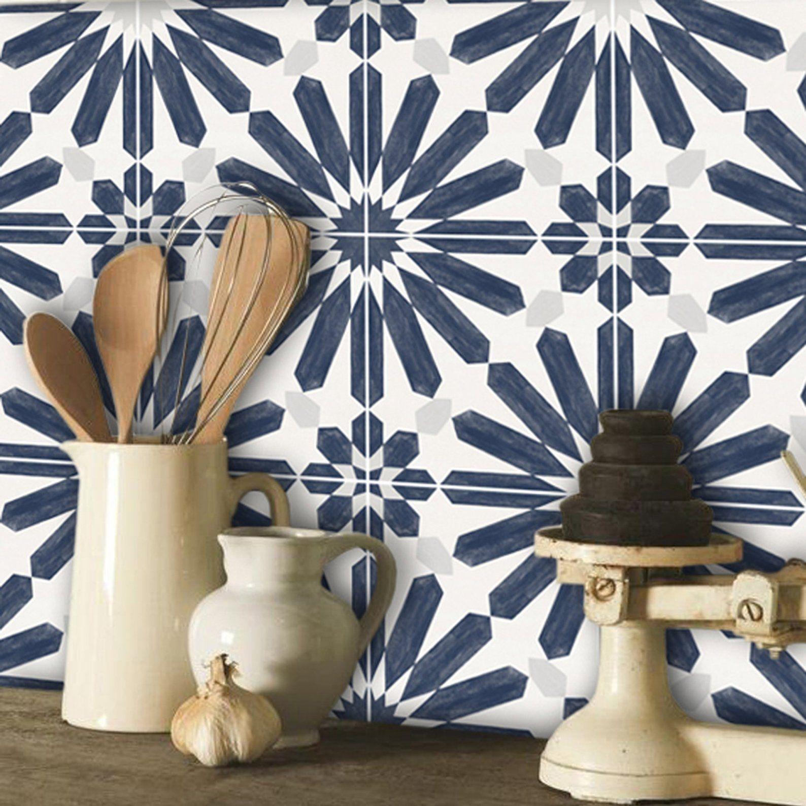 Astuce Pour Décoller Du Papier Peint papier peint amovible décor faïence stellino bleu encre