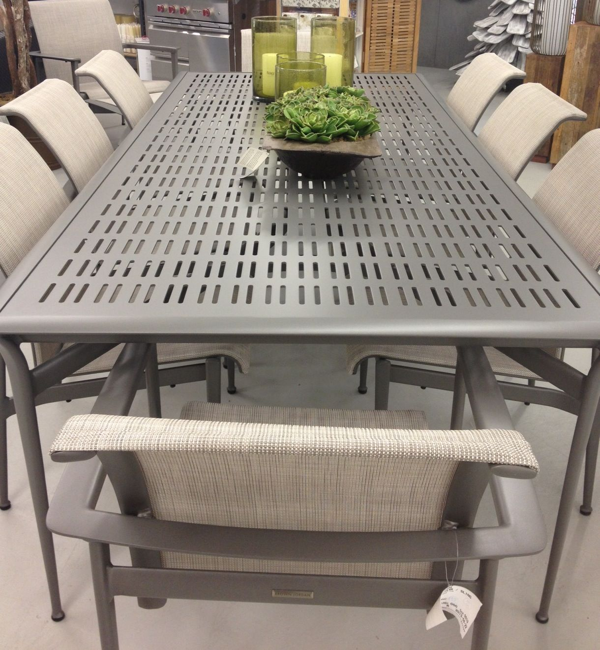 Flight By Brown Jordan Aluminum Table With Sling Chairs Outdoor Furniture Sets Outdoor Tables And Chairs Aluminum Table