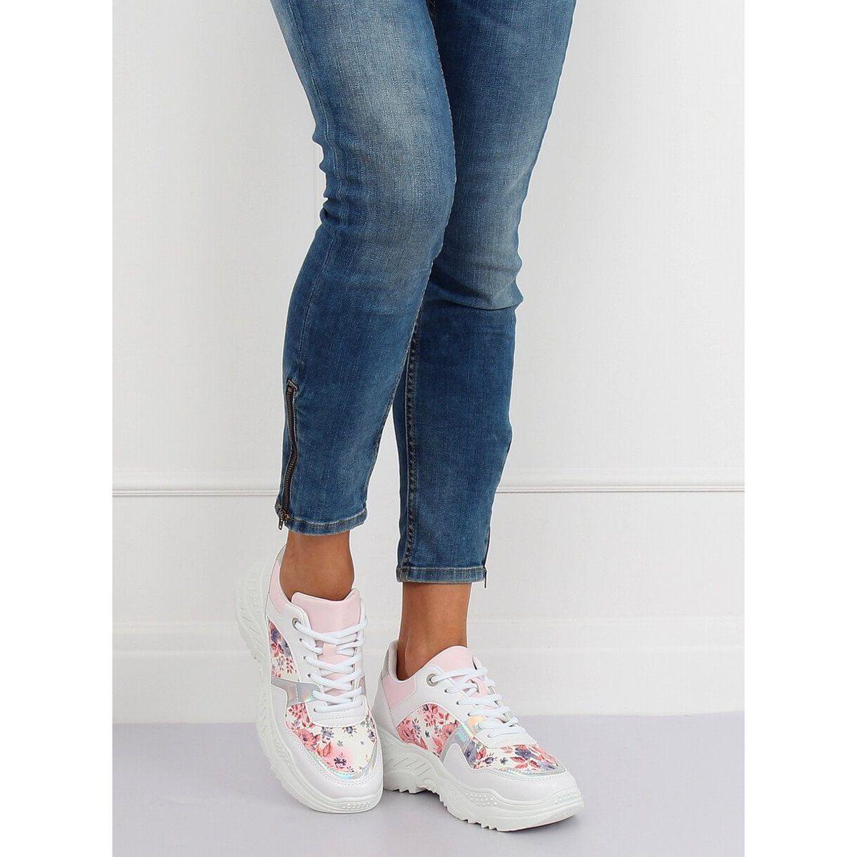 Trampki Damskie Butymodne Buty Sportowe W Kwiaty Biale 3002 White Flower Red Sport Shoes Sports Footwear Shoes