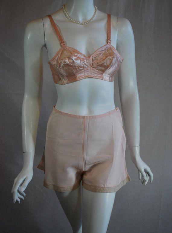 de44157dc7 1950s Pink Satin Exquisite Form Bra and 1940s pink Bur-Mil Rayon Fabric Tap  Panties.