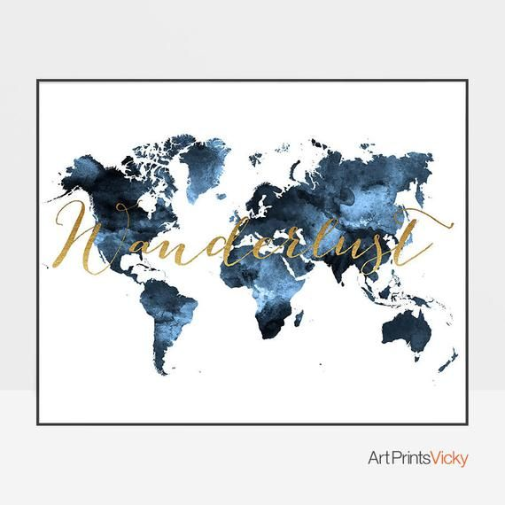Wanderlust, World map print, travel map, World map art, Travel map, Large world map, watercolor, blue world map, map decor, ArtPrintsVicky #worldmapmural